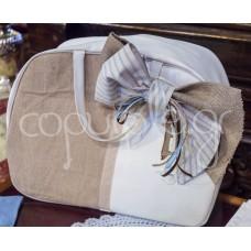 Δερμάτινη τσάντα λευκή με λινάτσα