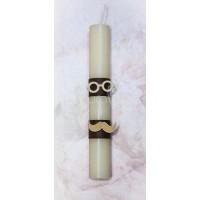 Πασχαλινή Λαμπάδα με ξύλινα γυαλιά και μουστάκι