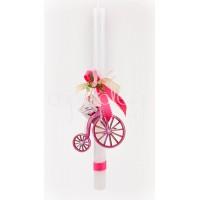 Πασχαλινή Λαμπάδα με ξύλινο ροζ ποδήλατο