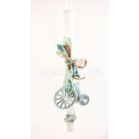 Πασχαλινή Λαμπάδα με ξύλινο γαλάζιο ποδήλατο